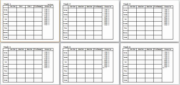Meal Plan Template Word Luxury 4 6 Weeks Meal Planner Ms Word Editable Template
