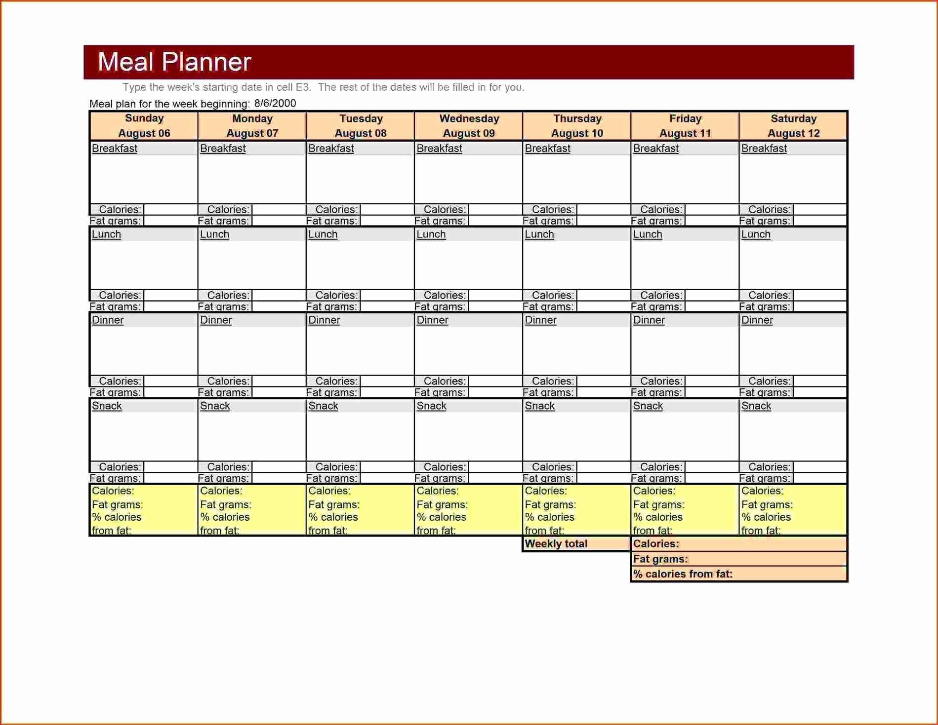 Meal Plan Template Word Luxury Large Weekly Menu Template Excel Meal Planner