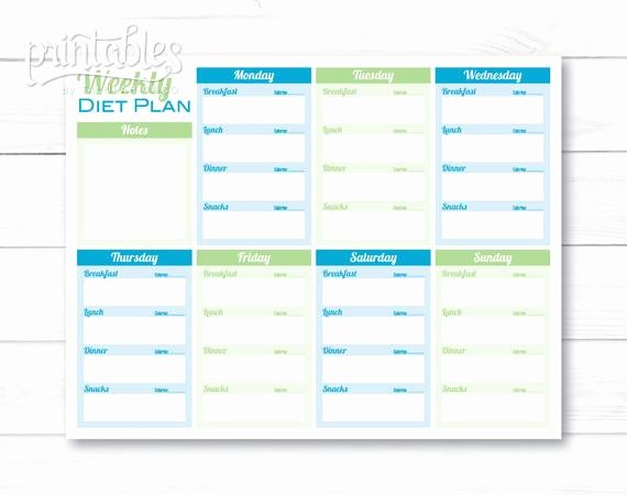 Meal Plan Weekly Template Best Of Weekly Diet Planner Pdf Meal Planner Template Printable Menu
