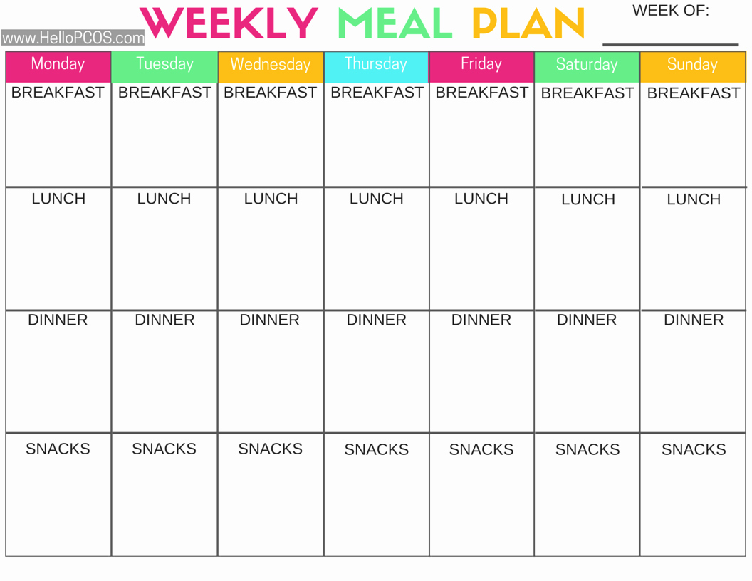 Meal Plan Weekly Template Luxury Pcos Diet and Nutrition