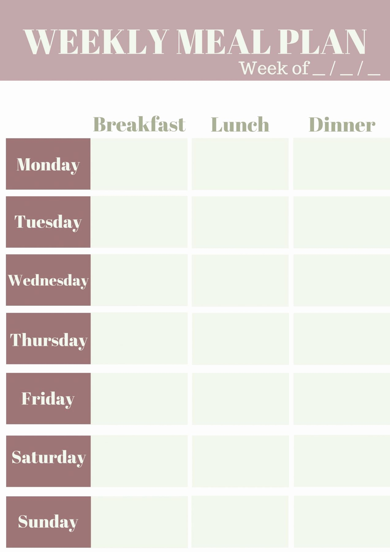 Meal Plan Weekly Template Luxury Weekly Meal Planning Template My Wifestyles