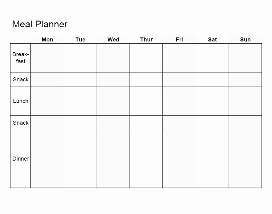Meal Plan Weekly Template Unique Meal Planning Template