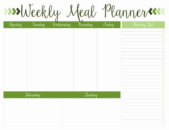 Meal Plan Weekly Template Unique Printable Weekly Meal Planners Free