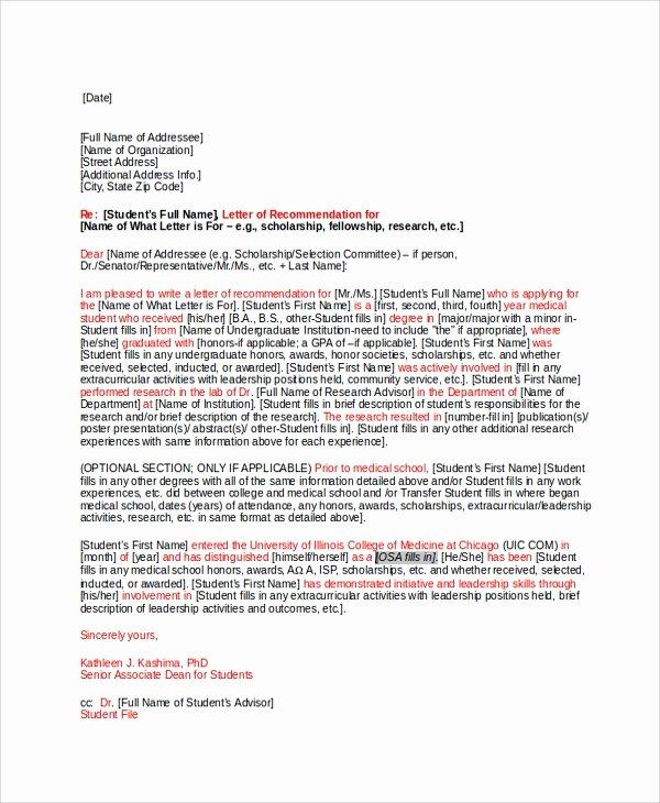 Med School Letter Of Recommendation Fresh 28 Letter Of Re Mendation In Word Samples