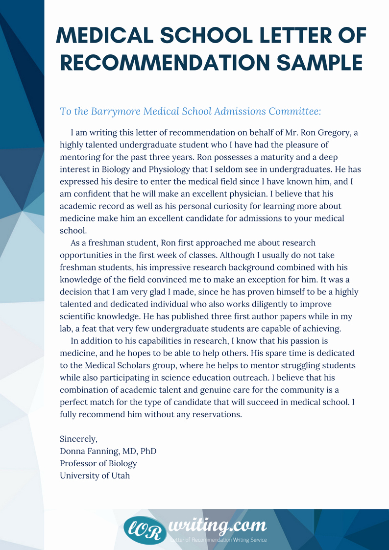 Med School Letter Of Recommendation Fresh Professional Medical School Re Mendation Letter Example