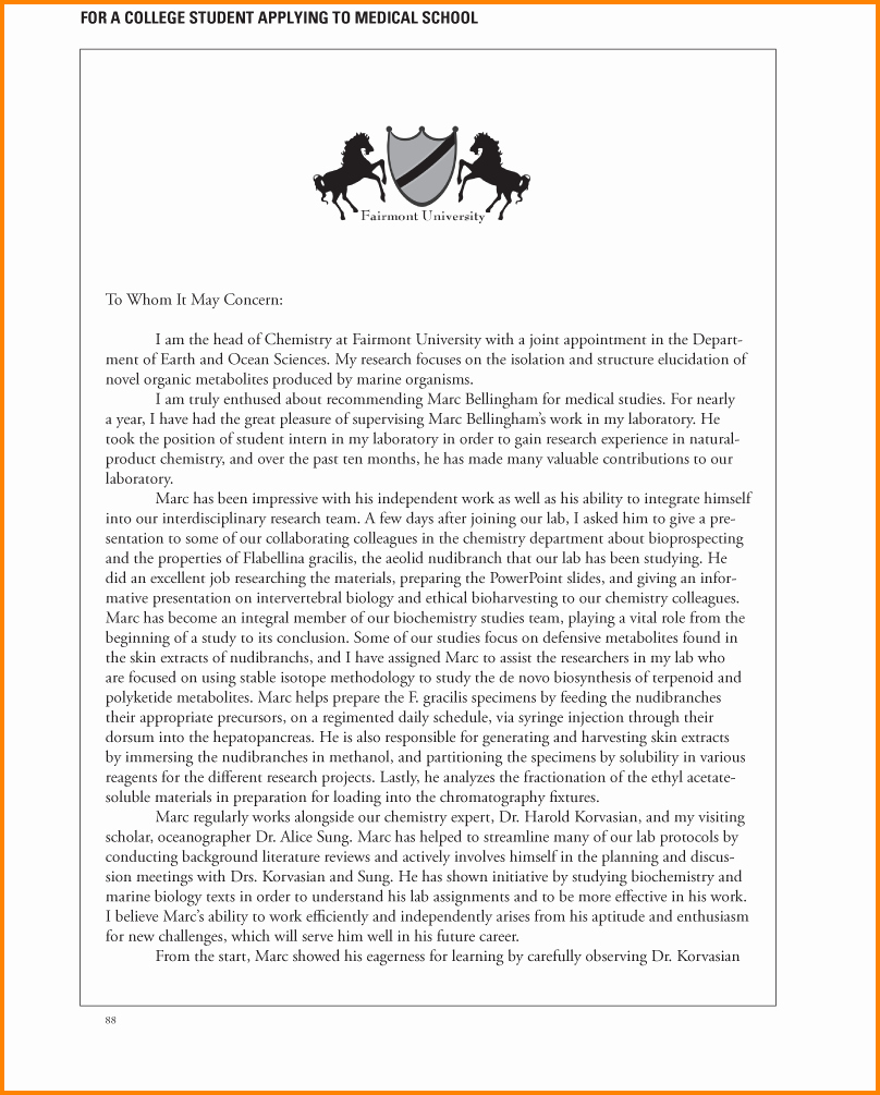 Med School Letter Of Recommendation Lovely 11 Re Mendation Letter for Medical School Sample