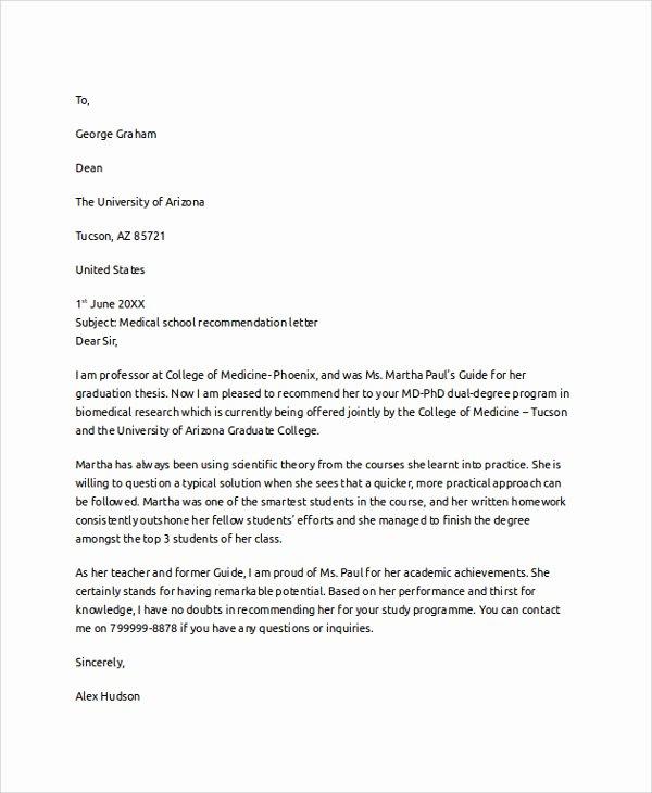 Med School Recommendation Letter Inspirational Medical School Letter Re Mendation Template
