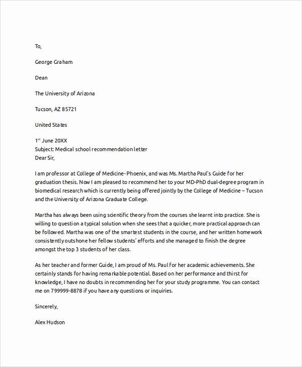 Med School Recommendation Letter Lovely 8 Letter Of Re Mendation Examples