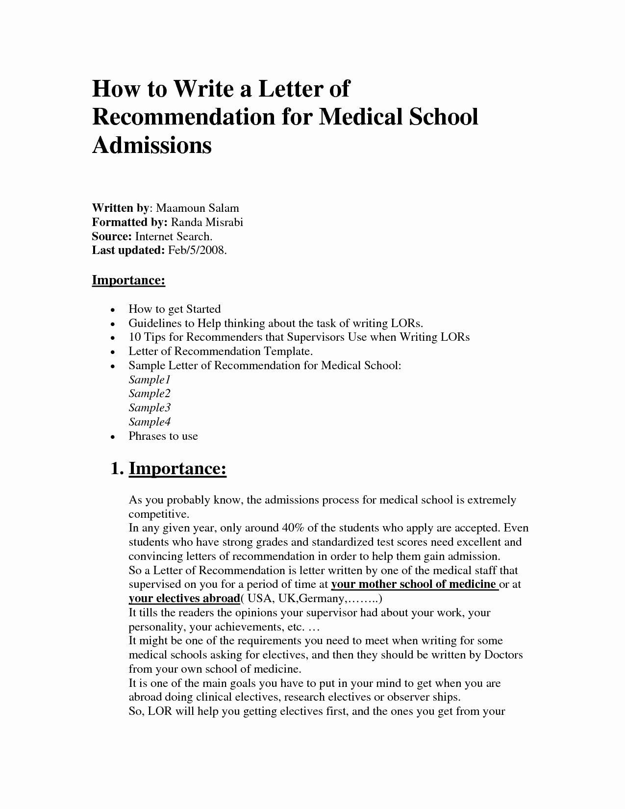 Med School Recommendation Letter Lovely Template for Letter Re Mendation for Medical School