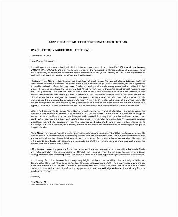 Med School Recommendation Letter New 7 Sample Re Mendation Letter From Professor