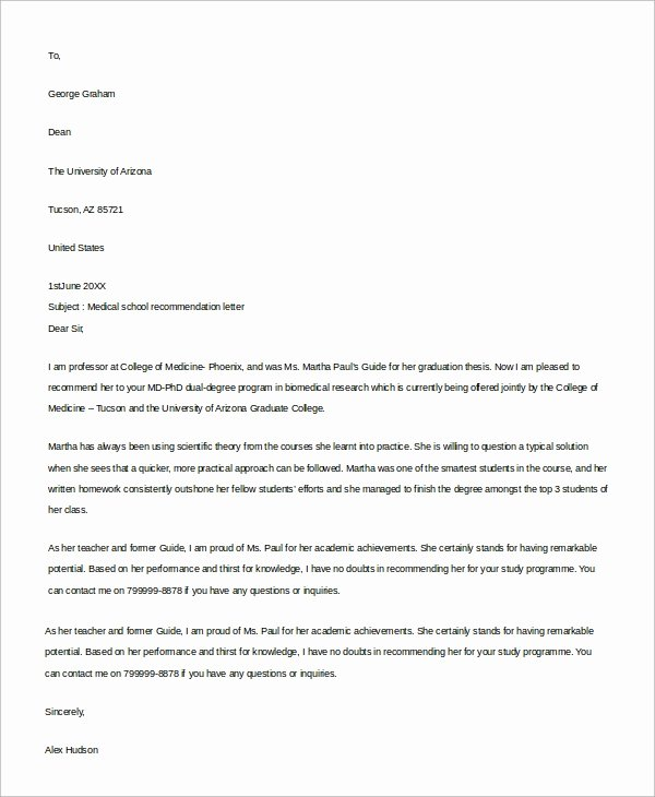 Med School Recommendation Letter Sample Beautiful 9 Re Mendation Letter Examples