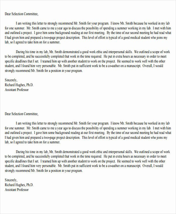 Med School Recommendation Letter Sample Lovely 8 Medical School Re Mendation Letter – Pdf Word