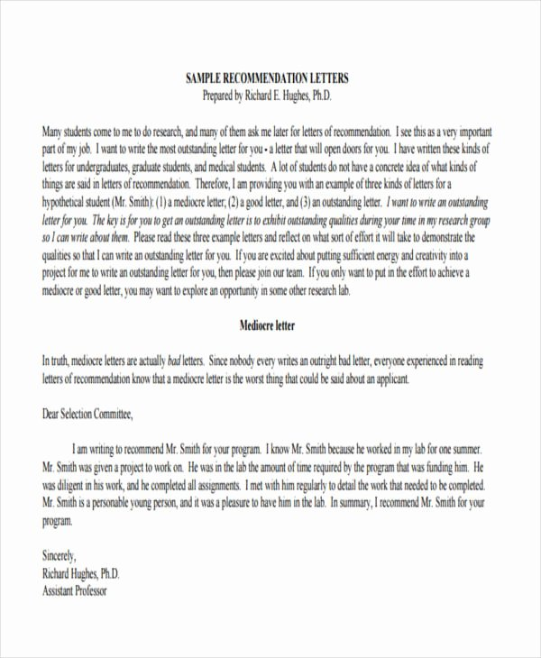 Med School Recommendation Letter Sample Lovely 89 Re Mendation Letter Examples & Samples Doc Pdf