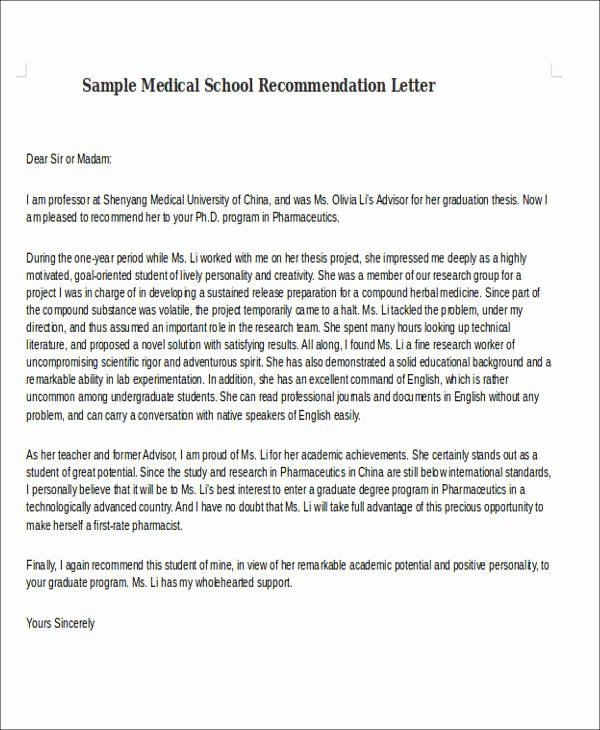 Med School Recommendation Letter Sample Luxury 8 Medical School Re Mendation Letter Free Sample