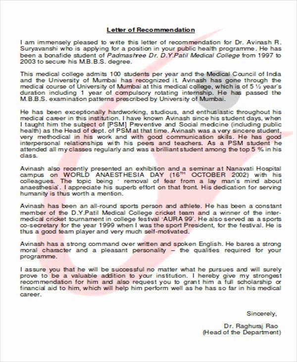 Med School Recommendation Letter Sample Luxury 8 Medical School Re Mendation Letter – Pdf Word
