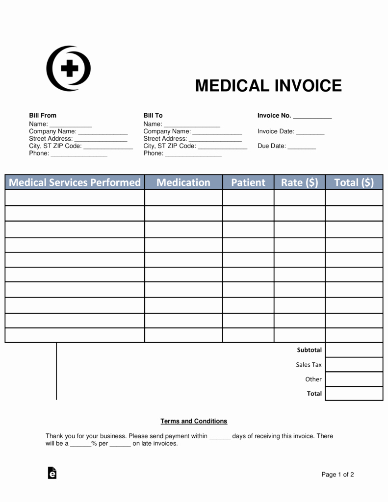 Medical Bill Template Pdf Unique Free Medical Invoice Template Word Pdf