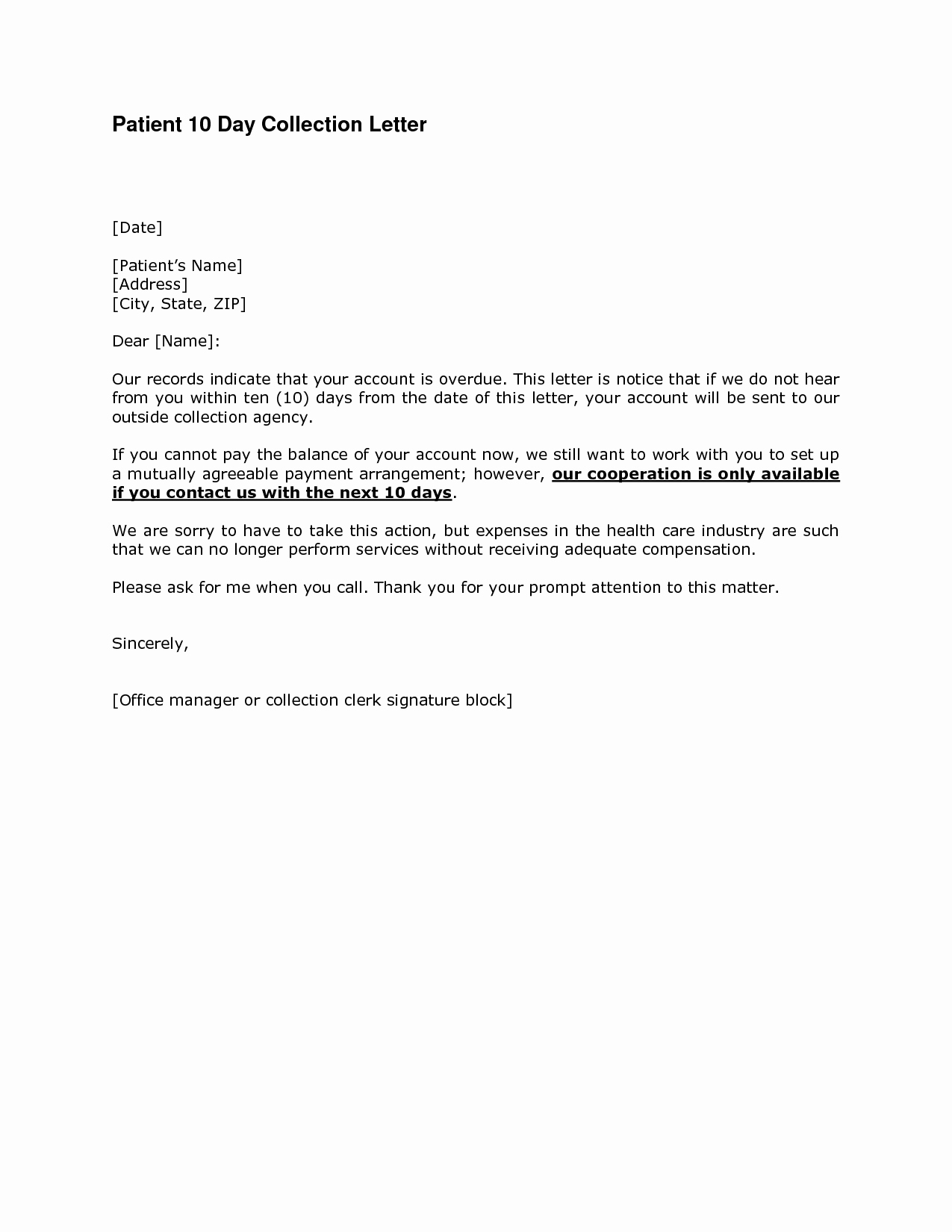 Medical Collection Letter Templates Beautiful Best S Of Collection Letter Sample Overdue Accounts