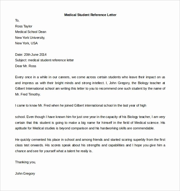 Medical Letter Of Recommendation Best Of Free Reference Letter Templates 24 Free Word Pdf