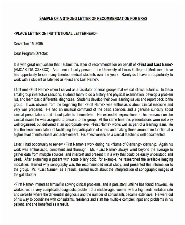 Medical Letter Of Recommendation Elegant 8 Sample Medical School Re Mendation Letters