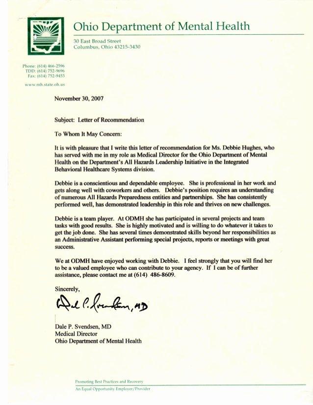Medical Letter Of Recommendation Elegant Letter Of Re Mendation Medical Director Department Of