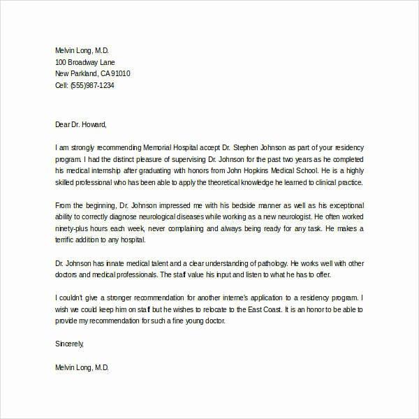 Medical School Letter Of Recommendation Elegant 44 Sample Letters Of Re Mendation for Graduate School
