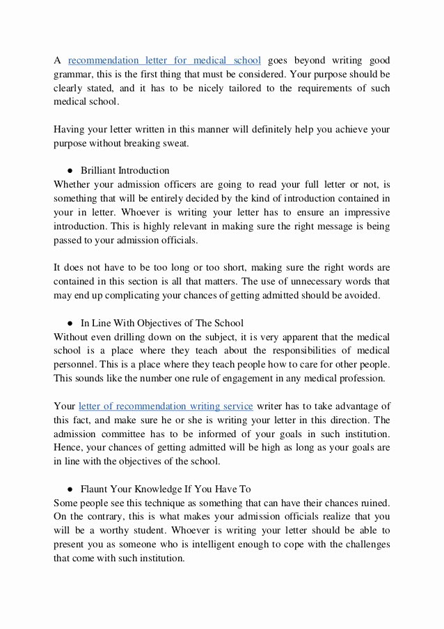 Medical School Letter Of Recommendation Fresh What are the Main Requirements On Re Mendation Letter