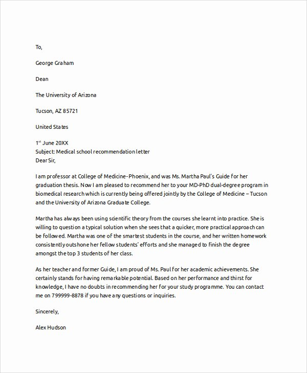 Medical School Letter Of Recommendation Inspirational Medical School Letter Re Mendation Template