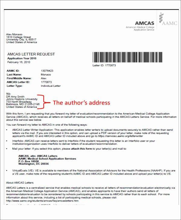 Medical School Letter Of Recommendation Lovely 8 Medical School Re Mendation Letter Free Sample