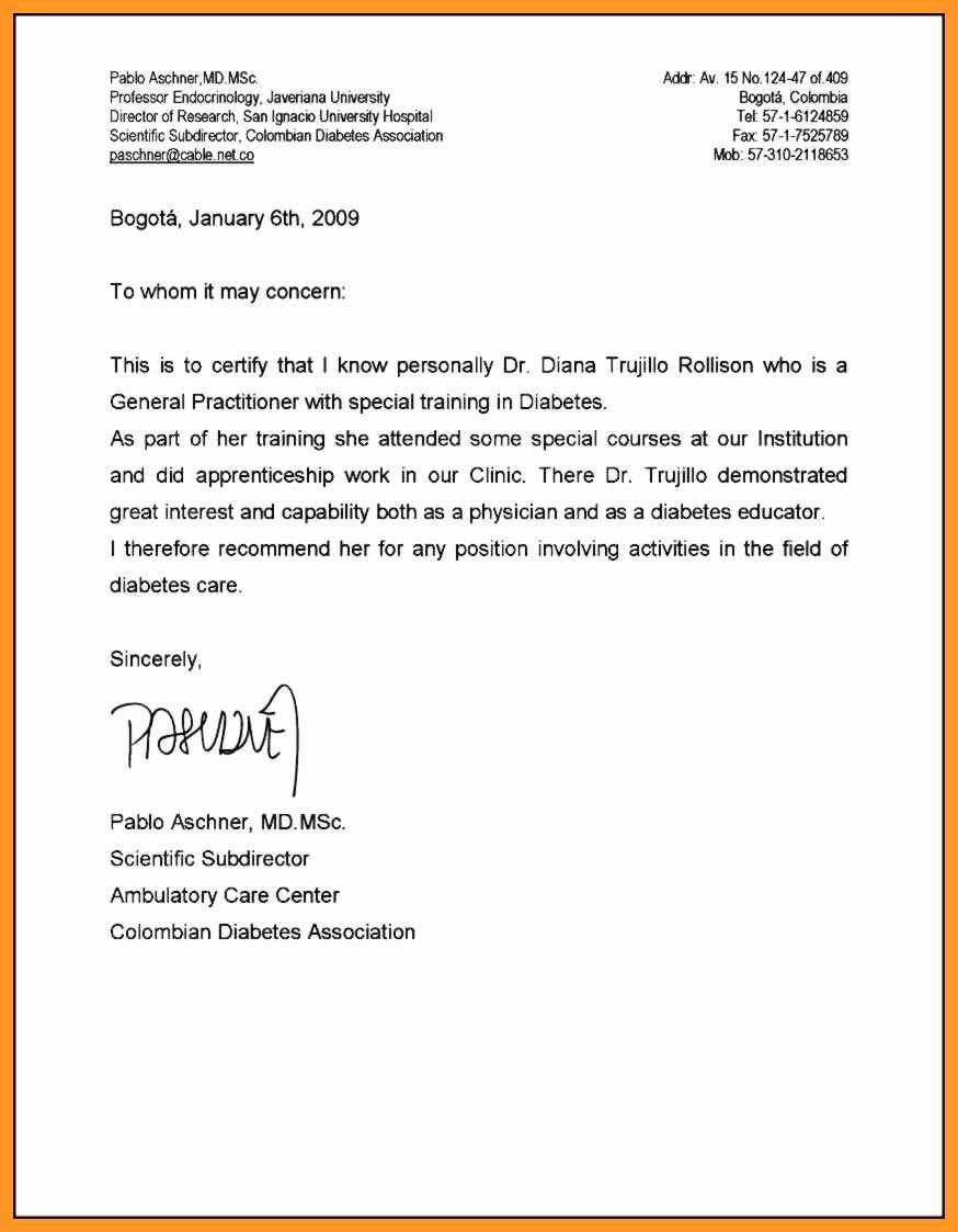 Medical School Letter Of Recommendation Unique Re Mendation Letter Medical School
