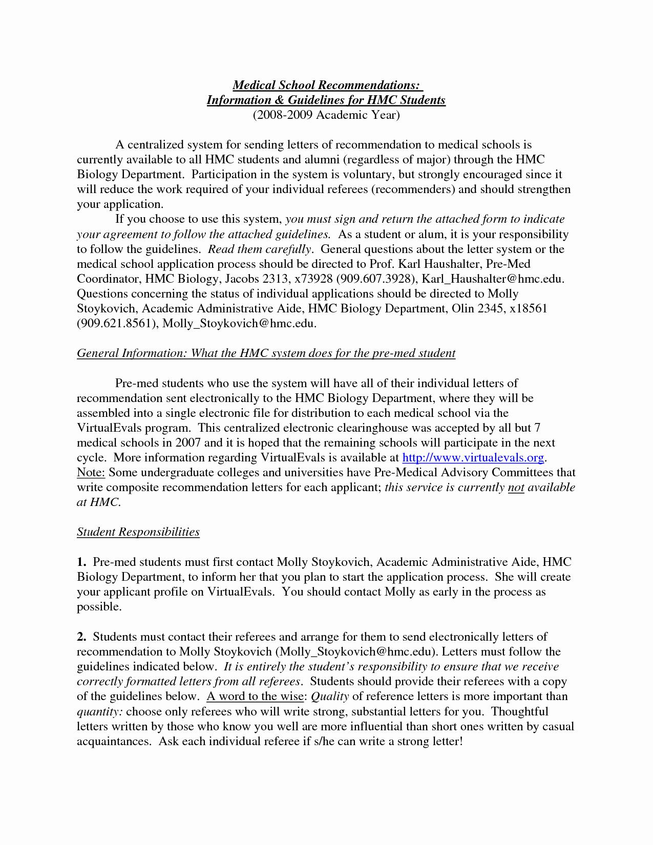 Medical School Recommendation Letter Example Awesome Re Mendation format Portablegasgrillweber