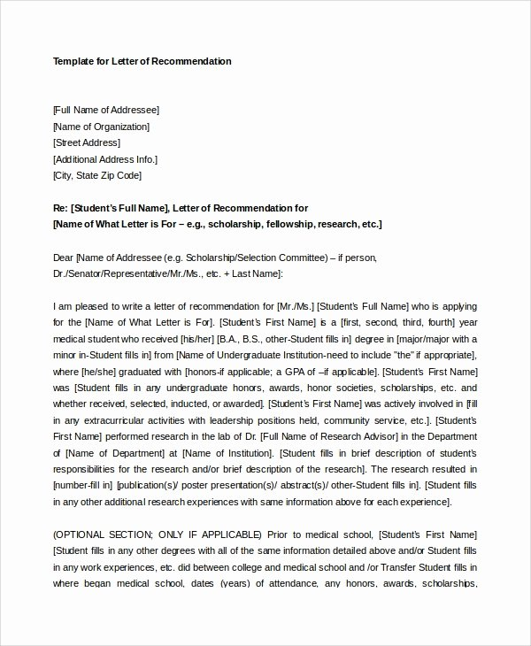 Medical School Recommendation Letter Example Luxury 8 Sample Letters Of Re Mendation for Student