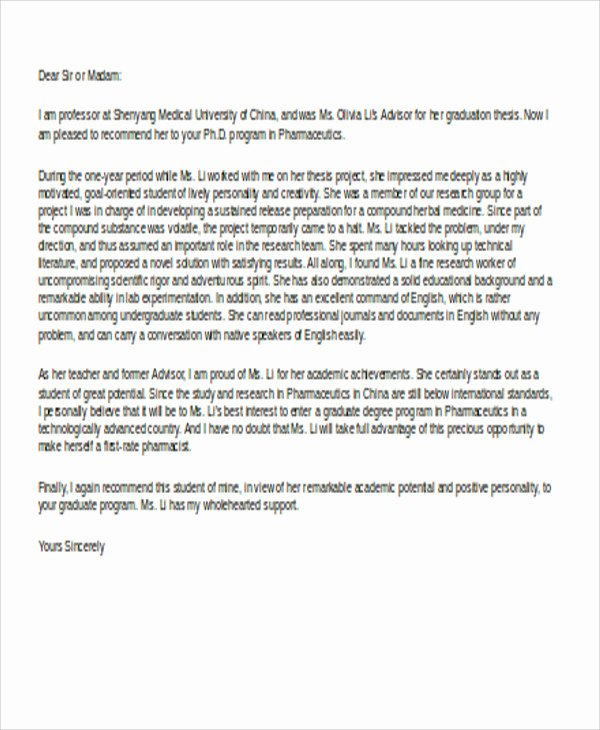 Medical School Recommendation Letter Examples Elegant 9 Sample School Reference Letters Free Samples