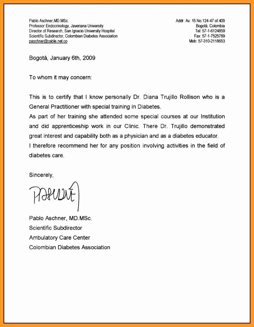 Medical School Recommendation Letter Inspirational Re Mendation Letter Medical School