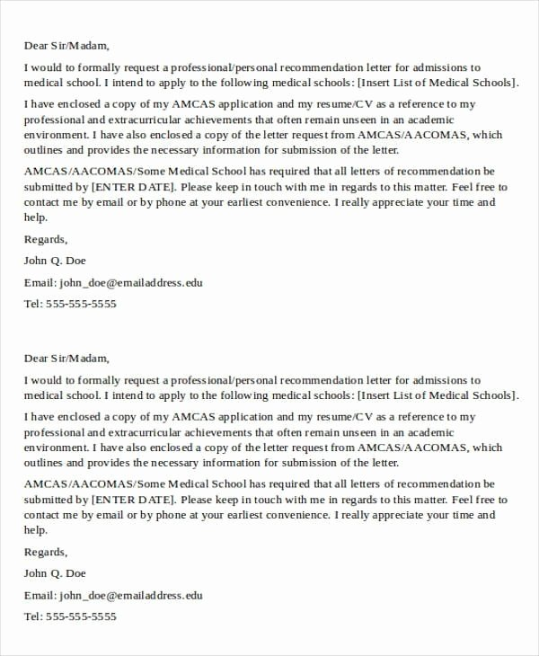 Medical School Recommendation Letter New Sample Medical School Re Mendation Letter