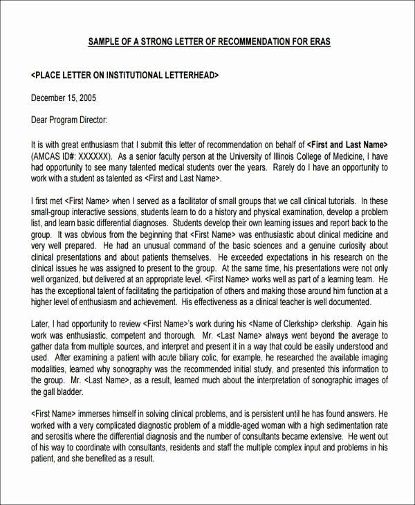 Medical School Recommendation Letter Sample Inspirational Re Mendation Letter Medical School Sample