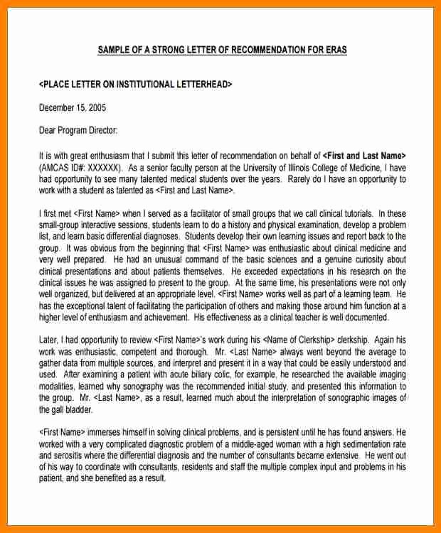 Medical School Recommendation Letter Template Inspirational 5 Medical School Letter Of Re Mendation Example