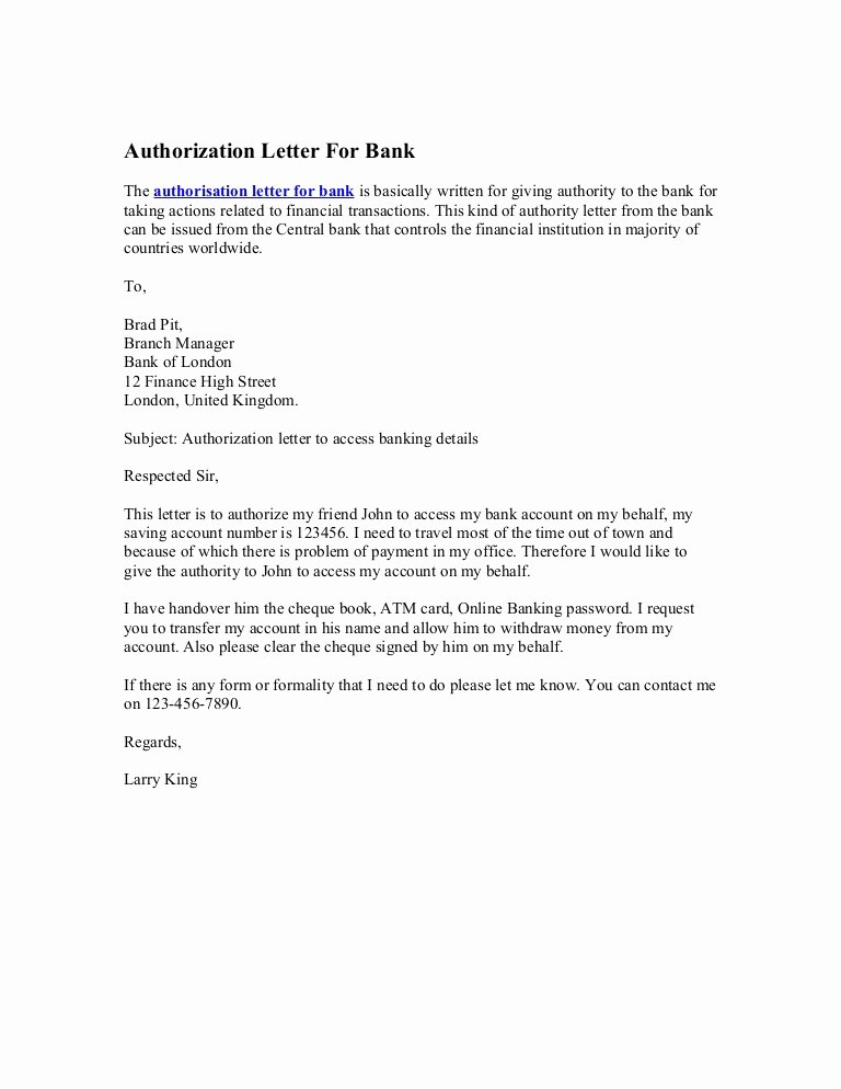 Medical School Update Letter format Beautiful Authorization Letter for Bank