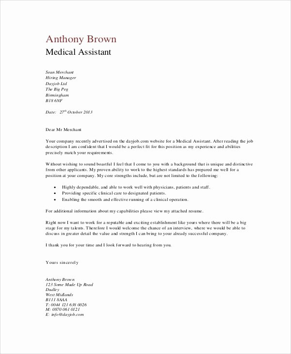 Medical School Update Letter format New Medical assistant Cover Letter for Resume Resume Ideas