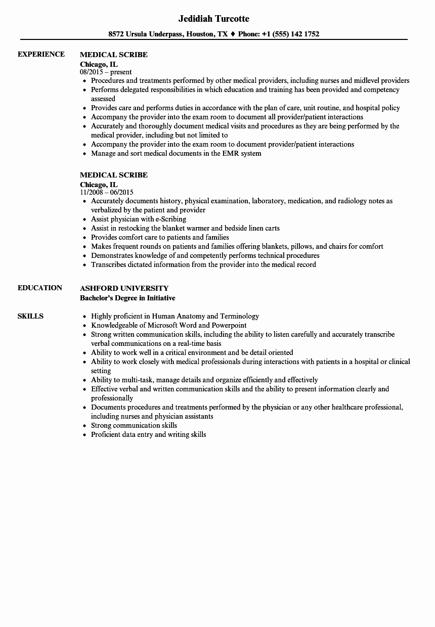 Medical Scribe Cover Letter No Experience Fresh Medical Scribe Resume Resume Ideas