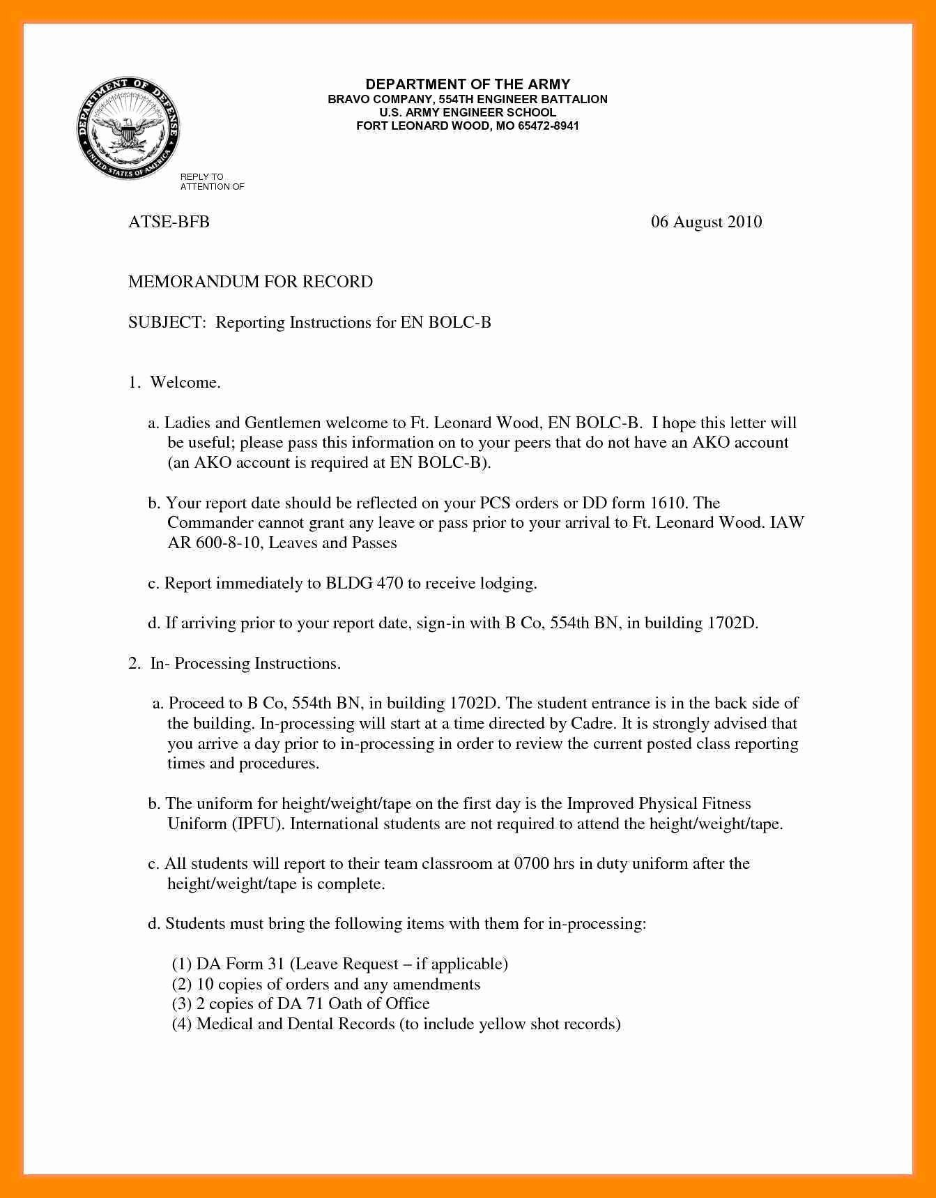 Memo for Record Template Lovely 11 12 Army Memo Example