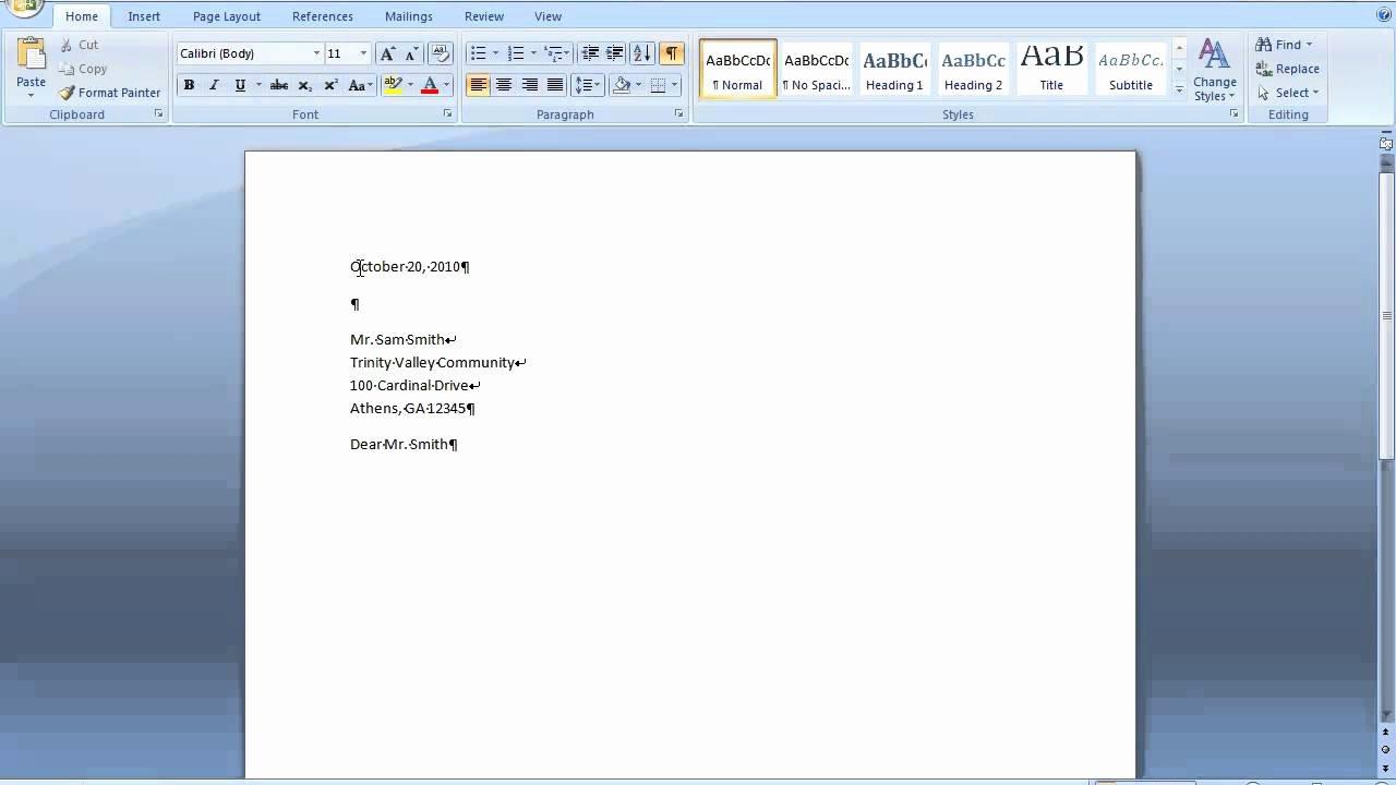 Memorandum Template Word 2010 Fresh Block Style Letter Using Line Breaks In Word 2007 or 2010