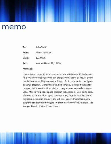 Memorandum Template Word 2010 New Blue Striped Header Memo