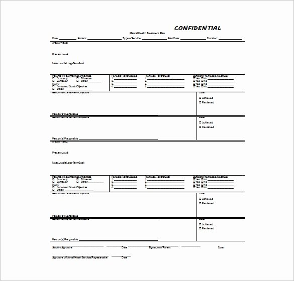 Mental Health Confidentiality Agreement Template Beautiful 15 Treatment Plan Templates Sample Word Google Docs
