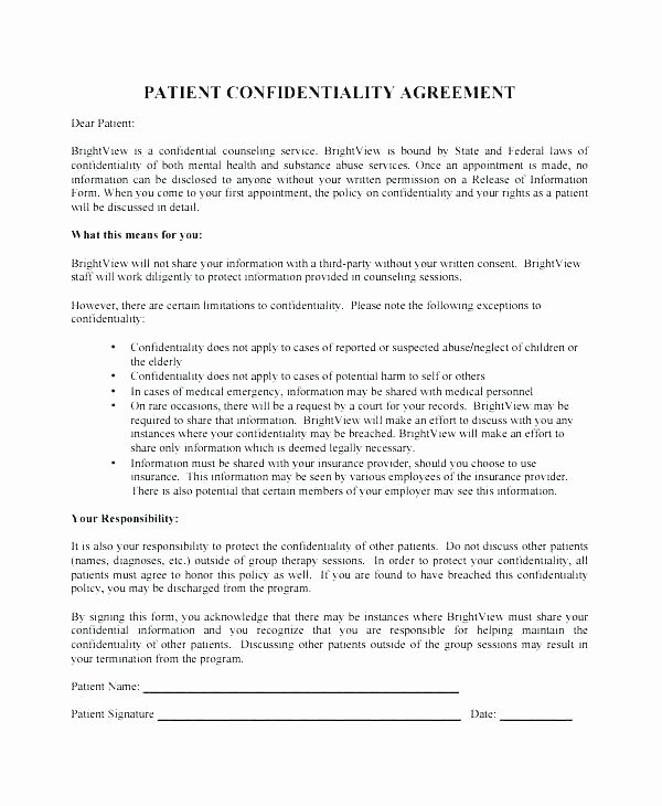 Mental Health Confidentiality Agreement Template Beautiful Employee Confidentiality Agreement Template Free Client