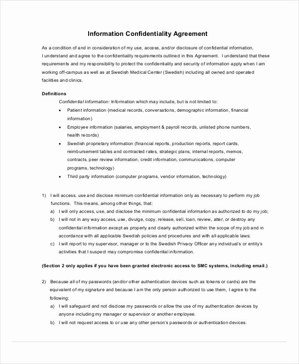 Mental Health Confidentiality Agreement Template Elegant 11 Medical Confidentiality Agreement Templates Pdf