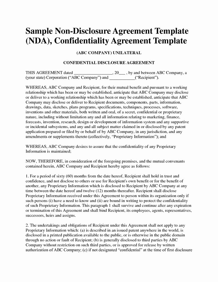 Mental Health Confidentiality Agreement Template Inspirational Non Disclosure Agreement Template Free Sample Nda Template