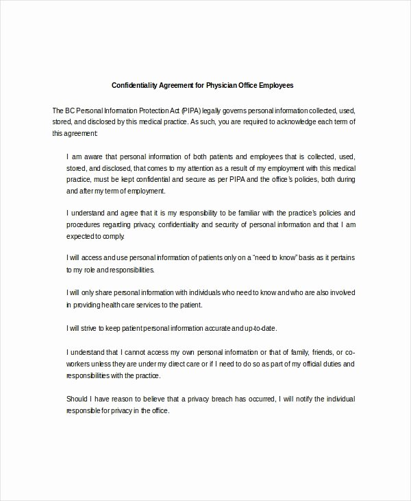 Mental Health Confidentiality Agreement Template Inspirational Personal Confidentiality Agreement – 8 Free Word Pdf