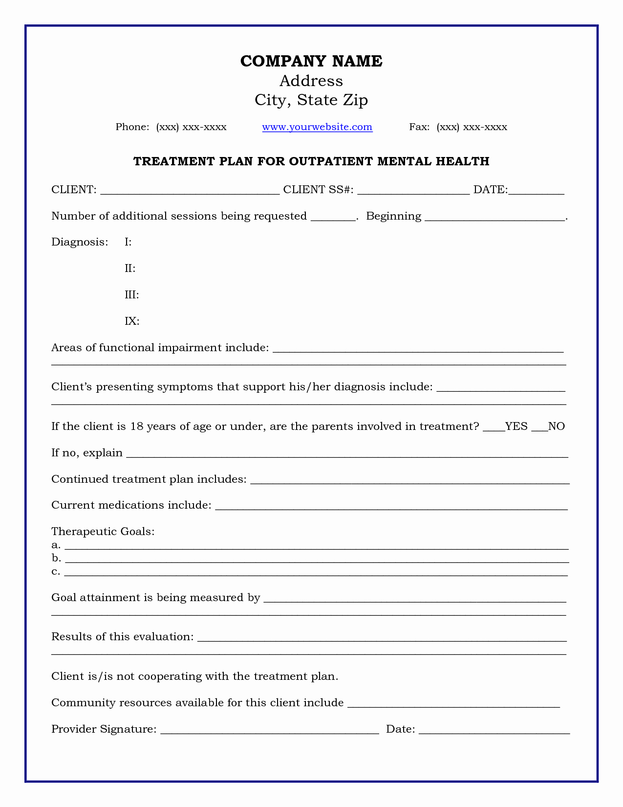 Mental Health Confidentiality Agreement Template Lovely Treatment Plan Template