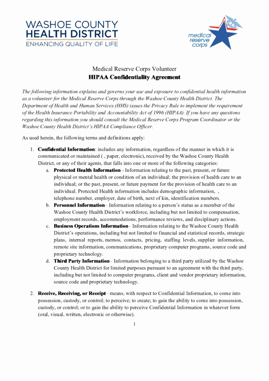 Mental Health Confidentiality Agreement Template Luxury Hipaa Confidentiality Agreement Printable Pdf