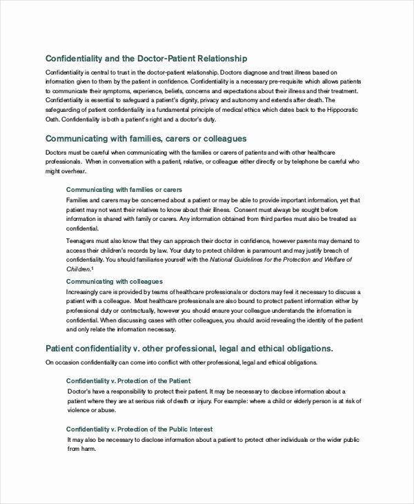 Mental Health Confidentiality Agreement Template Unique Patient Confidentiality Agreement – 10 Free Word Pdf